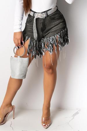 Fashion Casual Stitching Black Denim Shorts