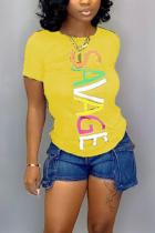 Fashion Casual Printed Yellow Short-sleeved T-shirt Top