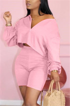 Fashion Casual Pink Shorts Two-piece Set