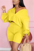 Fashion Casual Yellow Shorts Two-piece Set