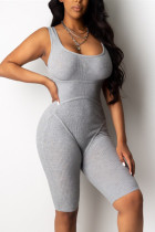 Fashion Casual Gray Sleeveless Romper