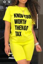 Fashion Casual Printed Short Sleeve Top Yellow Set