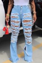 Fashion Sexy Blue Broken Hole Denim Trousers