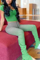 Fashion Sexy Printed Short Sleeved Top Green Set