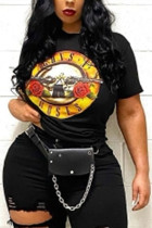 Fashion Casual Printed Black Short-sleeved T-shirt Top