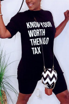 Fashion Casual Printed Short Sleeve Top Black Set