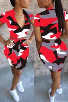 Fashion Camouflage Print T-shirt Shorts Red Set