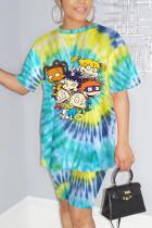 Fashion Casual Printed Short-sleeved T-shirt Dark Blue Set