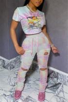 Fashion Casual Printed Pink Slim Two-piece Set
