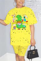 Fashion Casual Printed Short-sleeved T-shirt Yellow Set