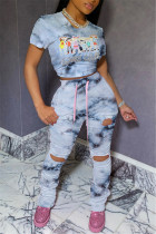 Fashion Casual Printed Gray Slim Two-piece Set