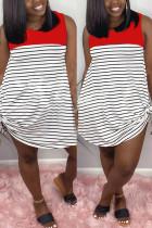 Fashion Striped Print Red Sleeveless Dress