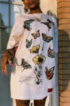 Fashion Sexy Printed White Loose Dress
