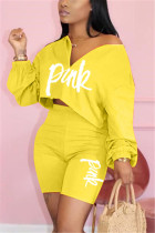 Fashion Letter Printed Top Pants Yellow Casual Set