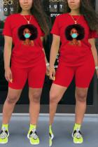 Fashion Casual Printed T-shirt Red Sports Set