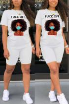 Fashion Casual Printed White Two-piece Set
