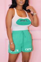 Fashion Casual Printed Cyan Sleeveless Set