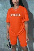 Fashion Casual Letter Printed Orange T-shirt Set