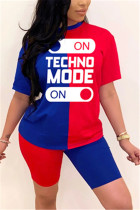 Fashion Letter Printed T-shirt Red Blue Patchwork Set