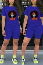 Fashion Casual Printed T-shirt Blue Sports Set