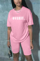 Fashion Casual Letter Printed Pink T-shirt Set