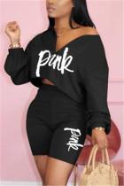 Fashion Letter Printed Top Pants Black Casual Set