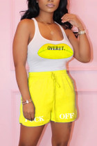 Fashion Casual Printed Fluorescent Yellow Sleeveless Set