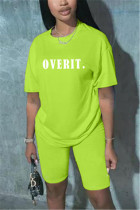 Fashion Casual Letter Printed Green T-shirt Set