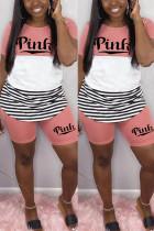 Fashion Striped Letter Printed T-shirt Pink Shorts Set