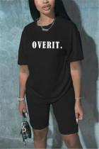 Fashion Casual Letter Printed Black T-shirt Set