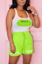 Fashion Casual Printed Fluorescent Green Sleeveless Set