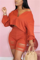 Fashion Casual Broken Hole Pants Orange Set