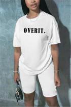 Fashion Casual Letter Printed White T-shirt Set