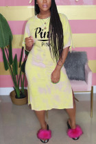 Fashion Casual Letter Printed Yellow Long Dress