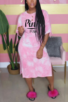 Fashion Casual Letter Printed Pink Long Dress