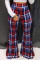 Fashion Casual Printed Red Bell Bottoms