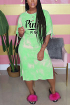 Fashion Casual Letter Printed Light Green Long Dress