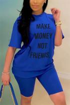 Fashion Casual Letter Printed T-shirt Blue Pants Set