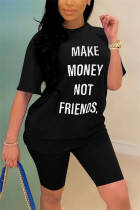 Fashion Casual Letter Printed T-shirt Black Pants Set