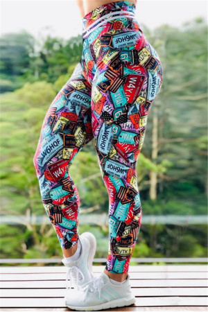 Fashion Sports Printed Multicolor Skinny Trousers