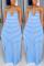 Sexy Fashion Striped Light Blue Loose Suspender Dress