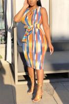 Sexy Printed Multicolor Sleeveless Slim Dress