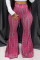 Fashion Casual Printed Pink Bell Bottoms