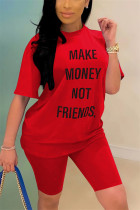 Fashion Casual Letter Printed T-shirt Red Pants Set