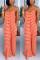 Sexy Fashion Striped Orange Loose Suspender Dress