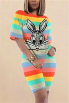 Fashion Striped Printed Rabbit Sequins Lake Green Set