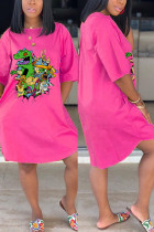 Fashion Casual Cartoon Printed Pink Dress