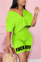 Fashion Letter Printed Pants Fluorescent Green Casual Set