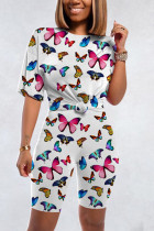 Fashion Casual Butterfly Print White Sports Set