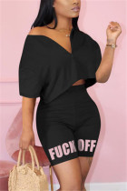 Fashion Letter Printed Pants Black Casual Set